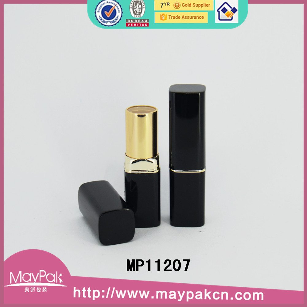 black empty metal lipstick tube