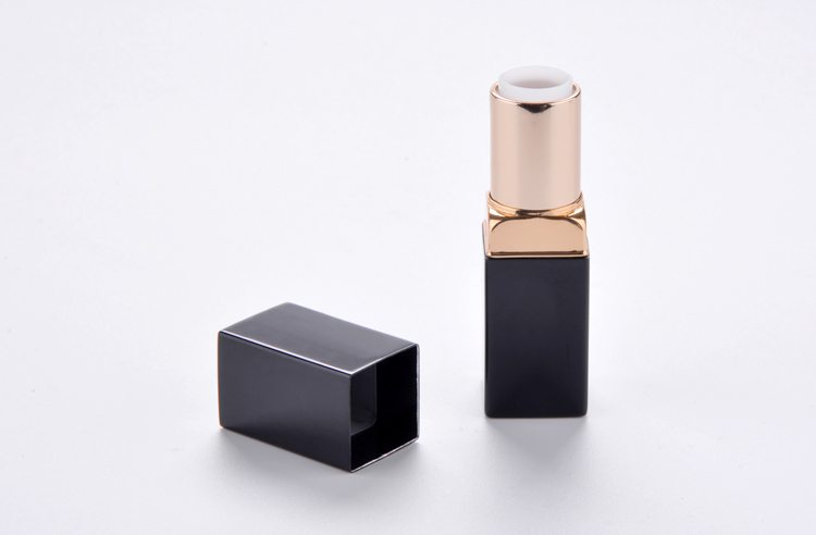square red metal lipstick tube