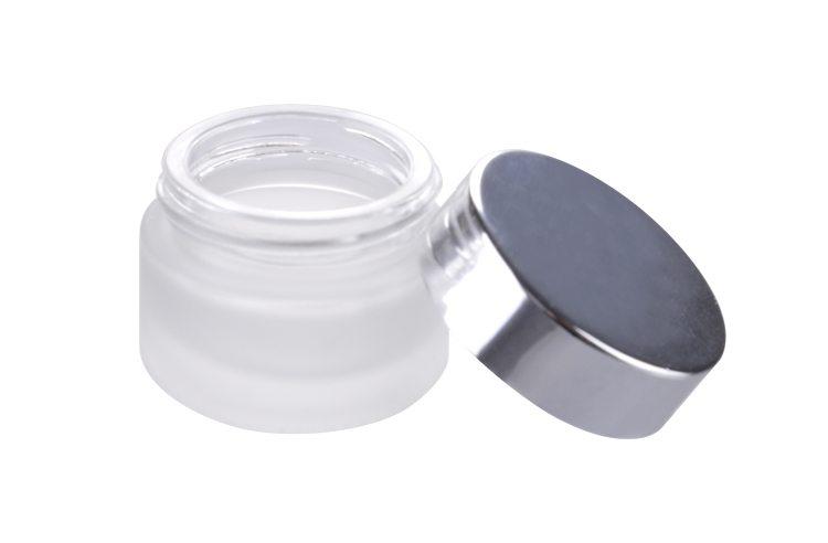 aluminum cap frosted glass jar