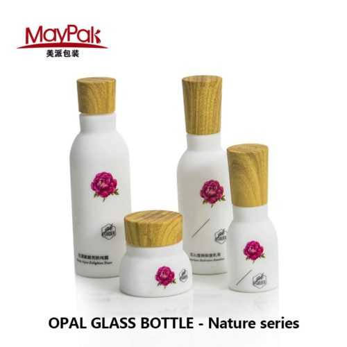 wholesale cosmetic empty opal glass bottle