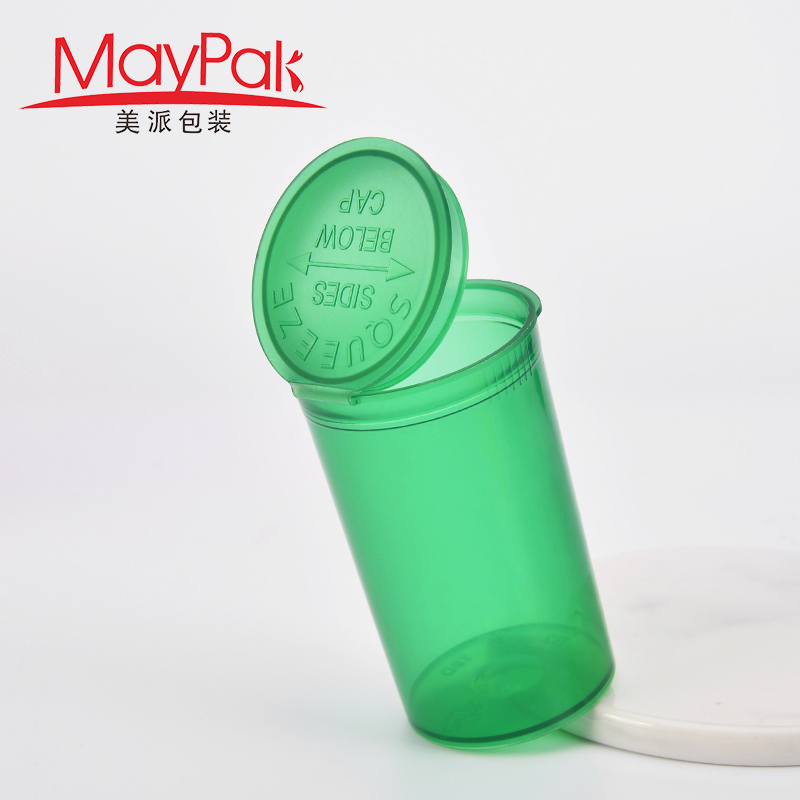 empty plastic pop top vial