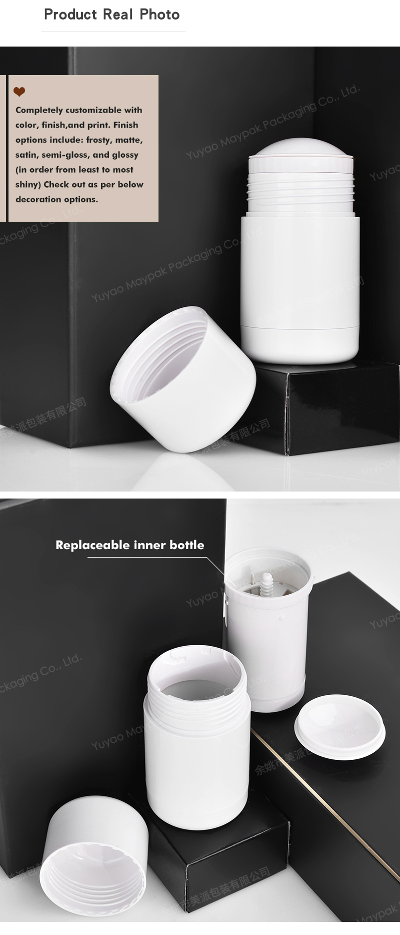 Refillable Deodorant Stick Container